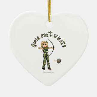 Blonde Archery in Camouflage Ceramic Heart Ornament
