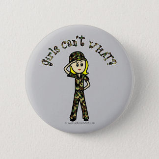 Blonde Army Woman 2 Inch Round Button