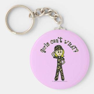 Blonde Army Woman Basic Round Button Keychain