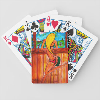 Blonde at Tiki Bar Bicycle Playing Cards