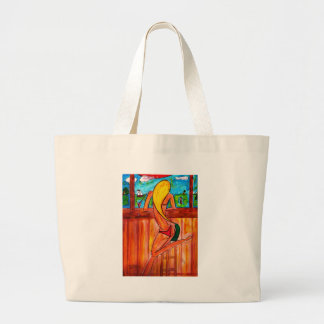 Blonde at Tiki Bar Large Tote Bag
