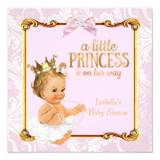 Blonde Baby Princess Baby Shower White Pink Gold Card