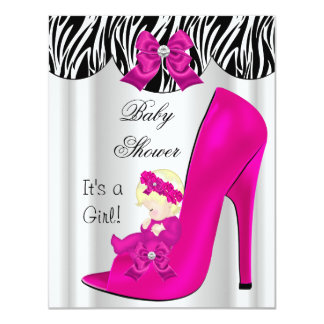 Blonde Baby Shower Girl Pink Baby in Shoe 4.25x5.5 Paper Invitation Card