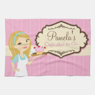 Blonde Baker Cupcake D12 Kitchen Towel 1