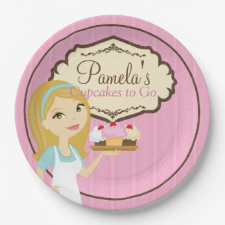 Blonde Baker Cupcake D12 Paper Plates