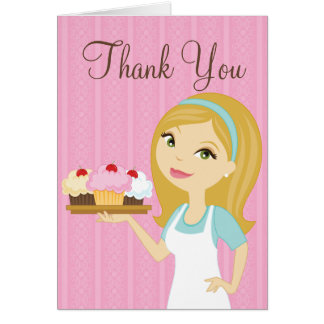 Blonde Baker Cupcake D12 Thank You Card 1
