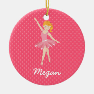 Blonde Ballerina with Pink Polka Dots Ceramic Ornament