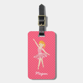 Blonde Ballerina with Pink Polka Dots Luggage Tag