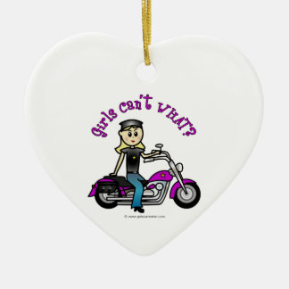 Blonde Biker Ceramic Heart Ornament
