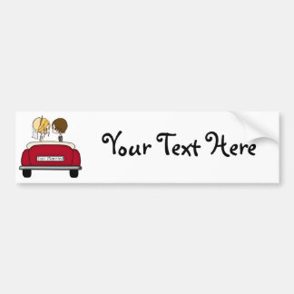 Blonde Bride and Brunette Groom in Red Wedding Car Bumper Stickers