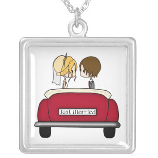 Blonde Bride and Brunette Groom in Red Wedding Car Square Pendant Necklace