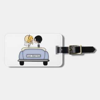 Blonde Bride & Black Haired Groom in Blue Car Luggage Tag