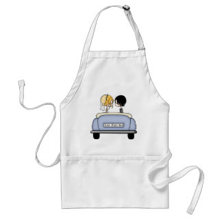 Blonde Bride & Black Haired Groom in Blue Car Standard Apron
