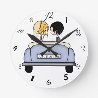 Blonde Bride & Black Haired Groom in Blue Car Wallclocks