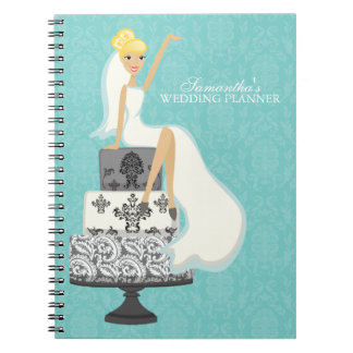 Blonde Bride on Wedding Cake aqua Note Books