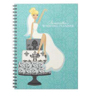 Blonde Bride on Wedding Cake {aqua} Notebook