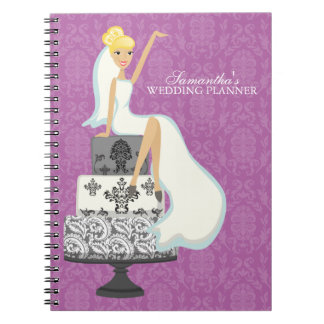 Blonde Bride on Wedding Cake orchid Note Books
