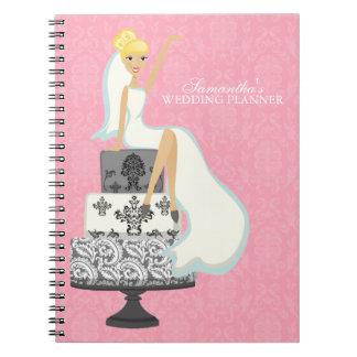 Blonde Bride on Wedding Cake pink Spiral Note Book