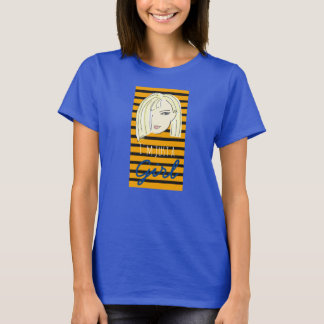 Blonde Cartoon Stripes Stylish Cool Just a Girl T-Shirt