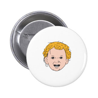 Blonde Caucasian Toddler Head Smiling Drawing 2 Inch Round Button