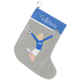 Blonde Cheerleader in White & Blue Large Christmas Stocking