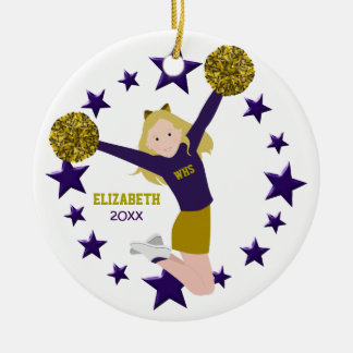 Blonde Cheerleader Pom Poms In Purple & Gold Ceramic Ornament