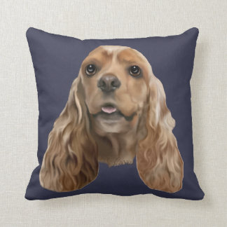 Blonde Cocker Spaniel Dog Throw Pillow