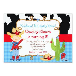 Blonde Cowboy Western Birthday Party Card