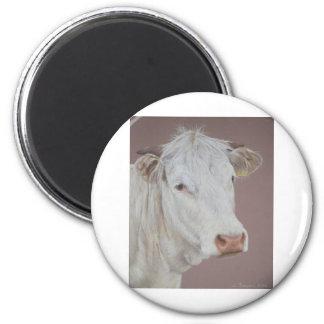 Blonde D'Aquitaine cow 2 Inch Round Magnet