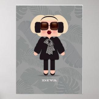 blonde diva printable character art poster