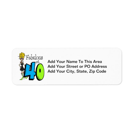Blonde Fabulous at 40 Birthday Return Address Label