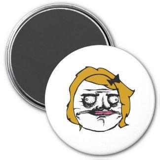 Blonde Female Me Gusta Comic Rage Face Meme 3 Inch Round Magnet