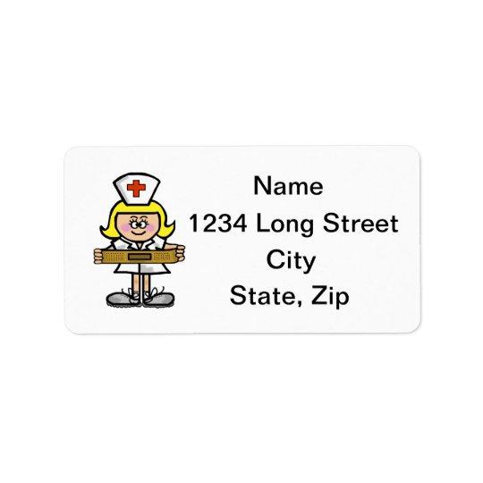 Blonde Female Nurse Address Labels