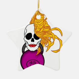 blonde female skull ceramic star ornament