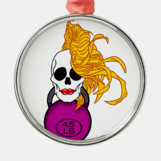blonde female skull Silver-Colored round ornament