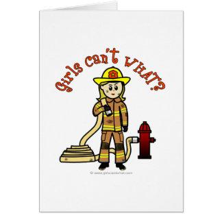 Blonde Firefighter Girl Card