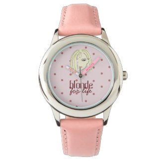 Blonde For Life Girl Portrait Polka Dots Pink Chic Watch