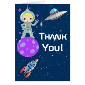 Blonde Girl Astronaut Thank You Note Card