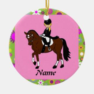 Blonde girl dressage horse rider caricature ceramic ornament