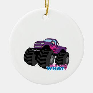 Blonde Girl Driving Purple Monster Truck Ceramic Ornament