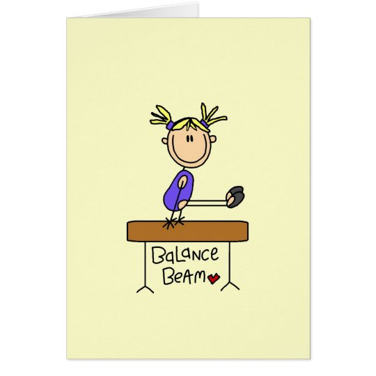 Blonde Girl Gymnast on Balance Beam Card