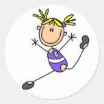 Blonde Girl Gymnast Tshirts and Gifts Round Sticker
