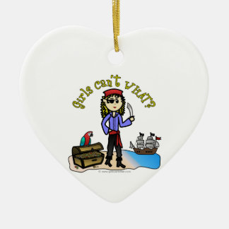 Blonde Girl Pirate Ceramic Heart Ornament