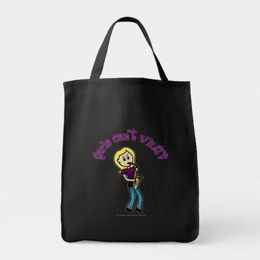 Blonde Girl Playing Saxophone Tote Bag