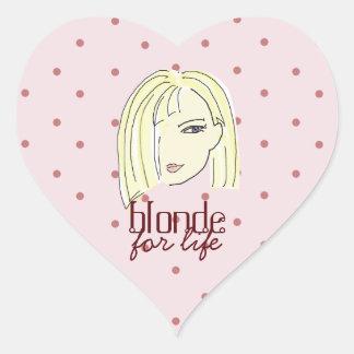 Blonde Girl Portrait Polka Dots Pink Cartoon Cool Heart Sticker