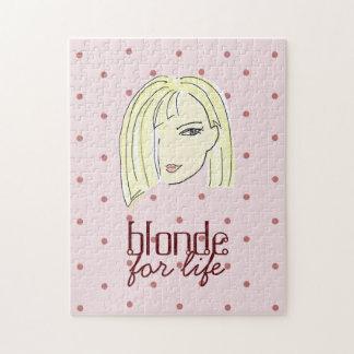 Blonde Girl Portrait Polka Dots Pink Cartoon Cool Jigsaw Puzzle