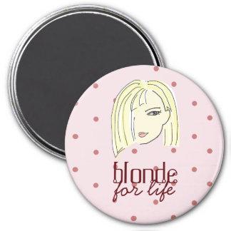 Blonde Girl Portrait Polka Dots Pink Cartoon Cool Magnet
