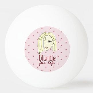 Blonde Girl Portrait Polka Dots Pink Cartoon Cool Ping Pong Ball