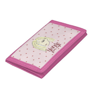 Blonde Girl Portrait Polka Dots Pink Cartoon Cool Trifold Wallet
