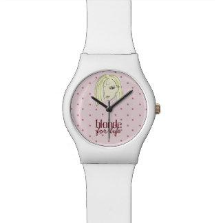 Blonde Girl Portrait Polka Dots Pink Cartoon Cool Watch